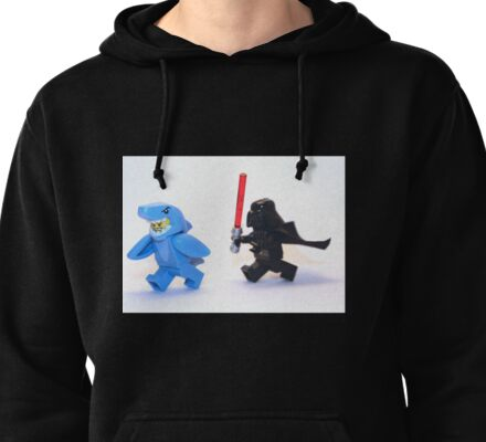 Lego Star Wars Darth Vader and Shark Suit Guy Pursuit Minifigure Pullover Hoodie