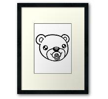face head baby pacifier diaper child sweet cute small comic cartoon teddy bear Framed Print