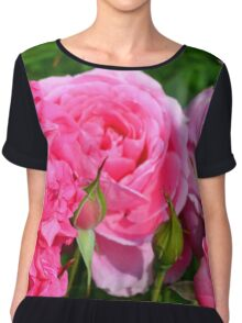 Pink roses in the garden. Chiffon Top