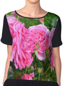 Pink rose in the garden. Chiffon Top