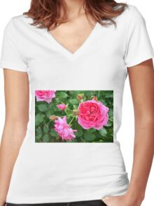 Pink rose in the garden. Women's Fitted V-Neck T-Shirt