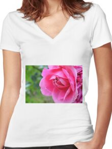 Pink roses in the garden. Women's Fitted V-Neck T-Shirt