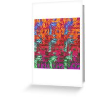 Florescent Purple Pink Green Abstract Pattern  Greeting Card