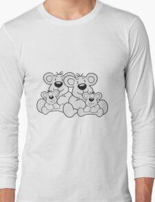 siblings twins pair couple love papa 2 children, baby boy, mummy family sweet little cute polar teddy bear sitting Long Sleeve T-Shirt