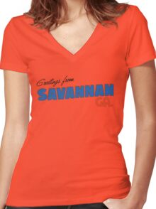 Greetings from Savannah Women's Fitted V-Neck T-Shirt
