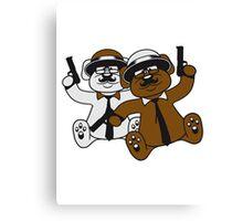 gangster mafia pistols team 2 buddies few troop tie hat hornbrille mustache nasty thug shoot robber thief raid teddy bear Canvas Print