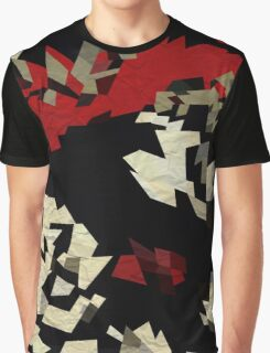 Black Red Cream Textured Abstract  Graphic T-Shirt