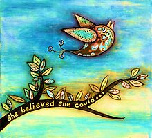 'FLY' - She believed she could. by Lisa Frances Judd~QuirkyHappyArt