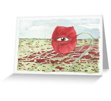In a field of blind poppies, one eye is king Greeting Card
