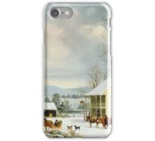 Vintage famous art - George Henry Durrie - Winter In The Country 1857 iPhone Case/Skin