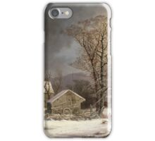 Vintage famous art - George Henry Durrie - Winter In The Country A Cold Morning iPhone Case/Skin