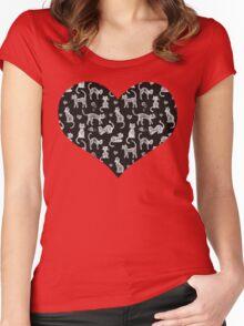 Teacher's Pet - chalkboard cat pattern Women's Fitted Scoop T-Shirt