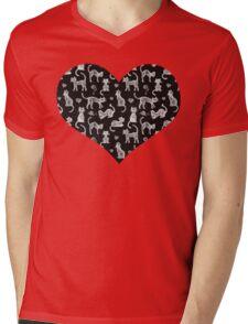 Teacher's Pet - chalkboard cat pattern Mens V-Neck T-Shirt