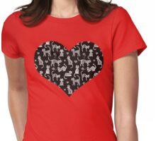 Teacher's Pet - chalkboard cat pattern Womens Fitted T-Shirt