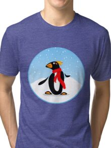 Marconi Penguin with Red Scarf Tri-blend T-Shirt