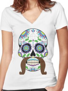 Zombie / Zombies Flower Face Women's Fitted V-Neck T-Shirt