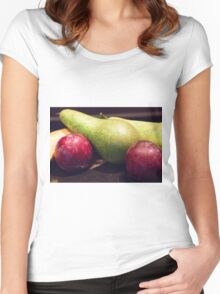 Plums, Pears And Bananas Women's Fitted Scoop T-Shirt