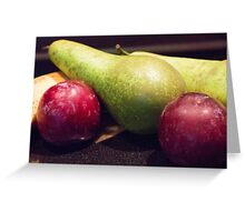 Plums, Pears And Bananas Greeting Card