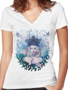 Self-Crowned Women's Fitted V-Neck T-Shirt