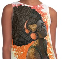Afro Nerd Girl II (Orange) Contrast Tank