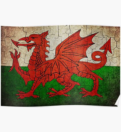 Grunge Wales flag Poster