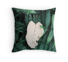 White Leave  Throw Pillow