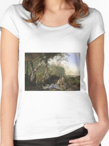 Vintage famous art - Adam Pynacker - Landscape With Sportsmen And Games 1665 Women's Fitted Scoop T-Shirt