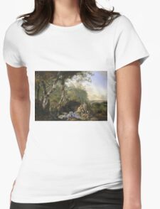 Vintage famous art - Adam Pynacker - Landscape With Sportsmen And Games 1665 Womens Fitted T-Shirt
