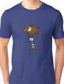 flying toss catch large stuffed animal boy child cute concept comic cartoon teddy bear baby Unisex T-Shirt