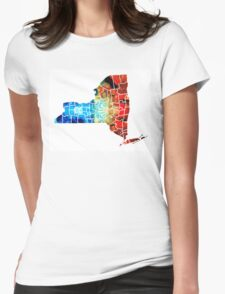 New York - Map By Sharon Cummings Womens Fitted T-Shirt