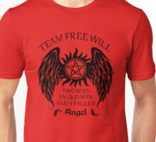 Two boys,an old man and a fallen angel (black version) Unisex T-Shirt