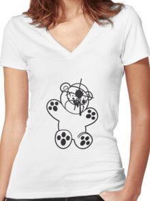 shot headshot killer killer sniper teddy strike targeted visor gamer shooter comic cartoon Women's Fitted V-Neck T-Shirt