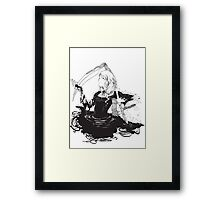 Black, white & black Framed Print