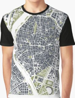 Seville city map engraving Graphic T-Shirt