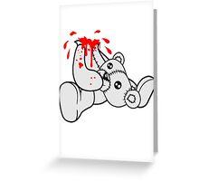 decapitated head drops polar spatter blood disgusting demolished death murder headless teddy bear sitting horror halloween evil Greeting Card