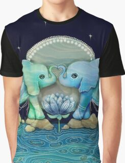 Lotus Flower Elephants Ocean Blue and Sea Green Graphic T-Shirt
