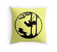 Silhouette art, child on a swing, dog Throw Pillow