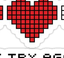 8bit Hearts - Just try again Sticker