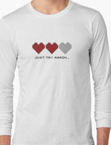 8bit Hearts - Just try again Long Sleeve T-Shirt