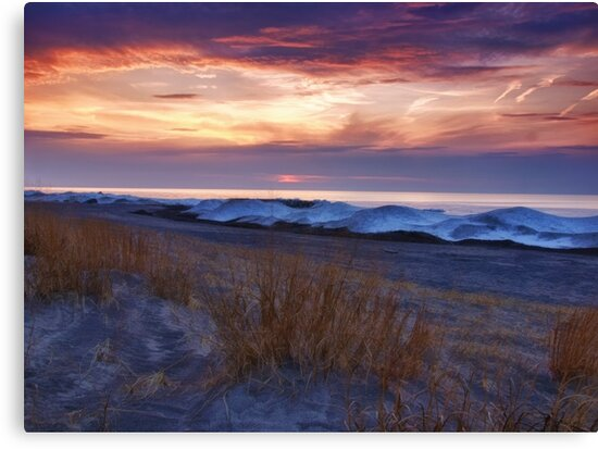 Ice Dunes At Sunset - Erie, PA by Kathy Weaver