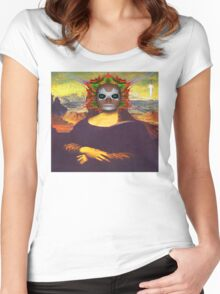 Cyborg Mona Lisa Women's Fitted Scoop T-Shirt