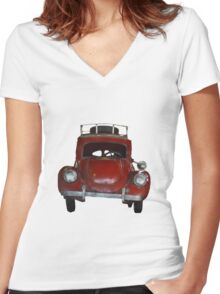 Little Red Car Women's Fitted V-Neck T-Shirt