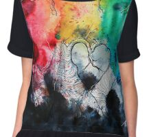 Rainbow Heart trees Chiffon Top