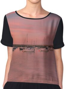 Midsummer sunset,Rhos On Sea Chiffon Top