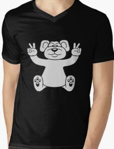 polar bear peace sign victory funny sitting cute little thicker teddy bear cute cuddly comic cartoon Mens V-Neck T-Shirt