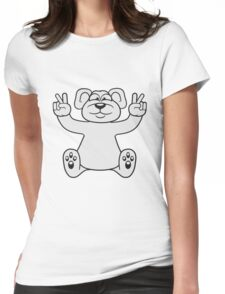 polar bear peace sign victory funny sitting cute little thicker teddy bear cute cuddly comic cartoon Womens Fitted T-Shirt