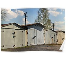 old private garages in a row Poster