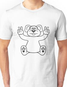 polar bear peace sign victory funny sitting cute little thicker teddy bear cute cuddly comic cartoon Unisex T-Shirt