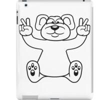 polar bear peace sign victory funny sitting cute little thicker teddy bear cute cuddly comic cartoon iPad Case/Skin