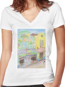 Spirited Away Background Design Women's Fitted V-Neck T-Shirt